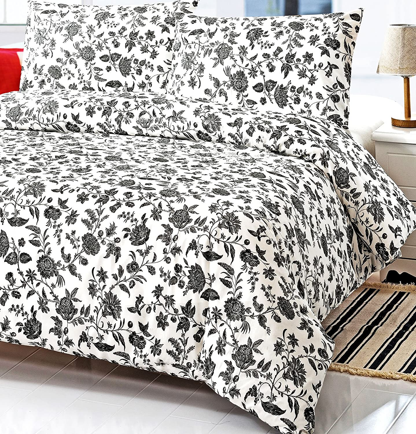 Black and white striped bed sheets - Black And White Floral Full Queen Size Duvet Cover Set