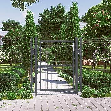 SONGMICS Puerta de Jardín de Hierro Galvanizado, Puerta para Valla ...