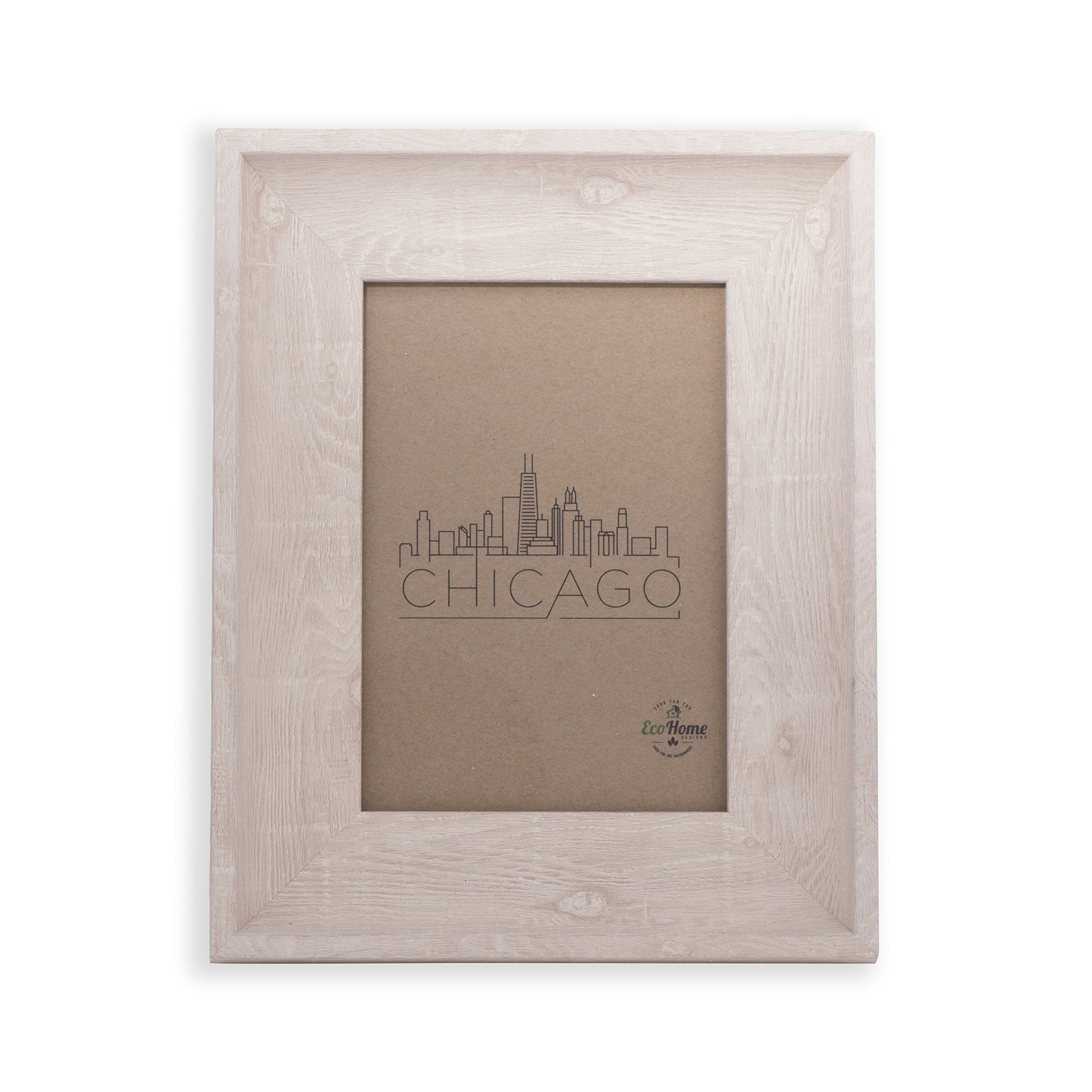 EcoHome 5x7 Photo Frame - Hang or Desktop Photo Display, Natural Wood Finish, for Home or Office