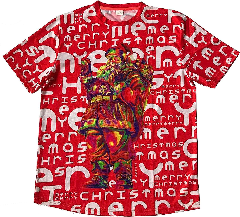 X-mas Ultraviolet Fluorescent Neon Blacklight with Santa Claus Print On It Shirt