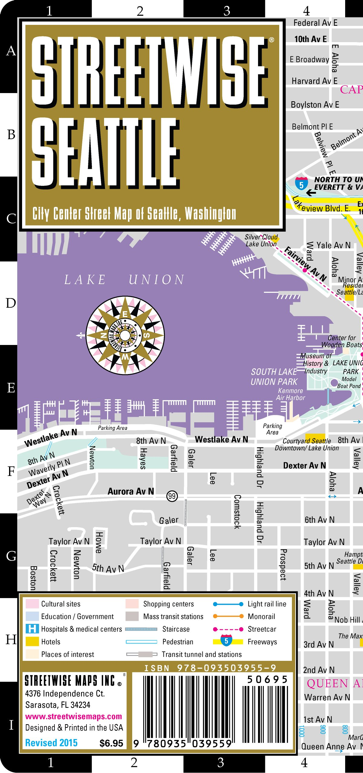 Key Arena Seattle Map.Streetwise Seattle Map Laminated City Center Street Map Of Seattle