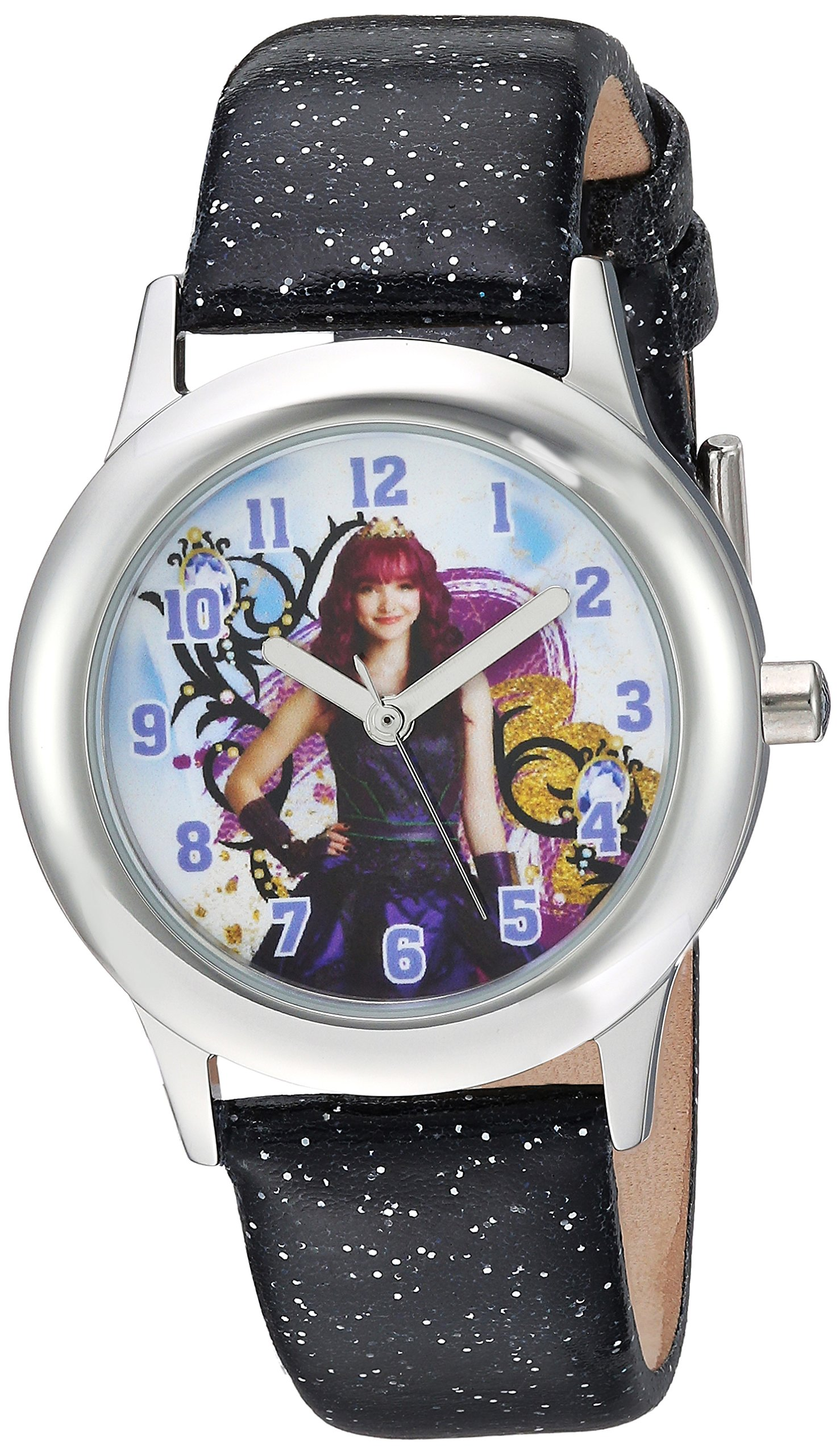 DISNEY Girls Descendants 2 Stainless Steel Analog-Quartz Watch with Leather-Synthetic Strap, Black, 15 (Model: WDS000248) by Disney