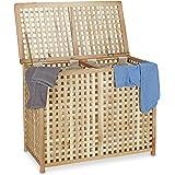 Relaxdays Wäschesammler Duo Walnuss, breite Wäschetruhe, 2 Wäschesäcke, Doppel Wäschebox HBT 68 x 88 x 46 cm, natur