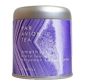 Par Avion Tea , Magic Crystal Tea - Amethyst Blend - Small Batch Loose Leaf Black Tea With Bergamot and Sugar Gems - 2 oz