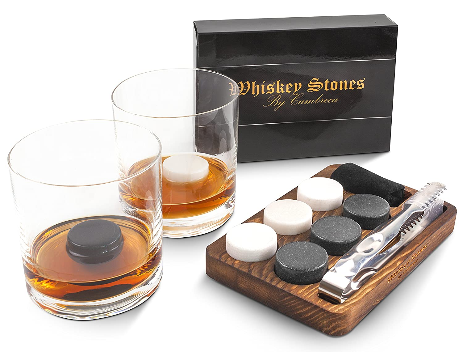 Cumbreca Whiskey Stones Gift Set of 6 Round Granite Whisky Rocks for Chilling your Beverages, Reusable Drinking Stones, Ice Cubes, Wooden Tray, Velvet Pouch, Stainless Steel Tongs by