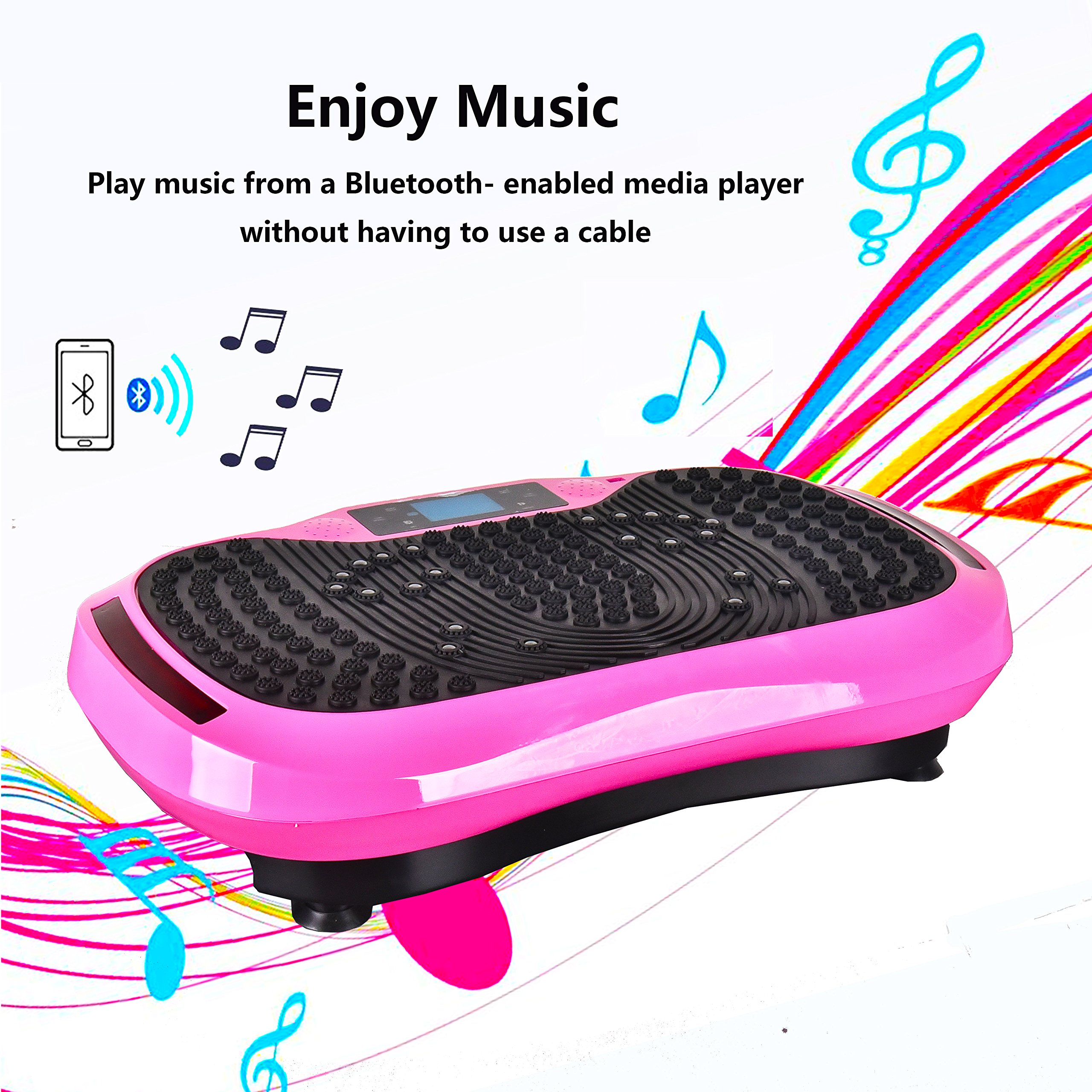 Reliancer Built-in Music Player Fitness Vibration Platform Whole Full Body Shaped Crazy Fit Plate Massage Workout Trainer Exercise Machine Plate w/Integrated USB Port&LED Light (W/Music-Pink) by Reliancer (Image #2)