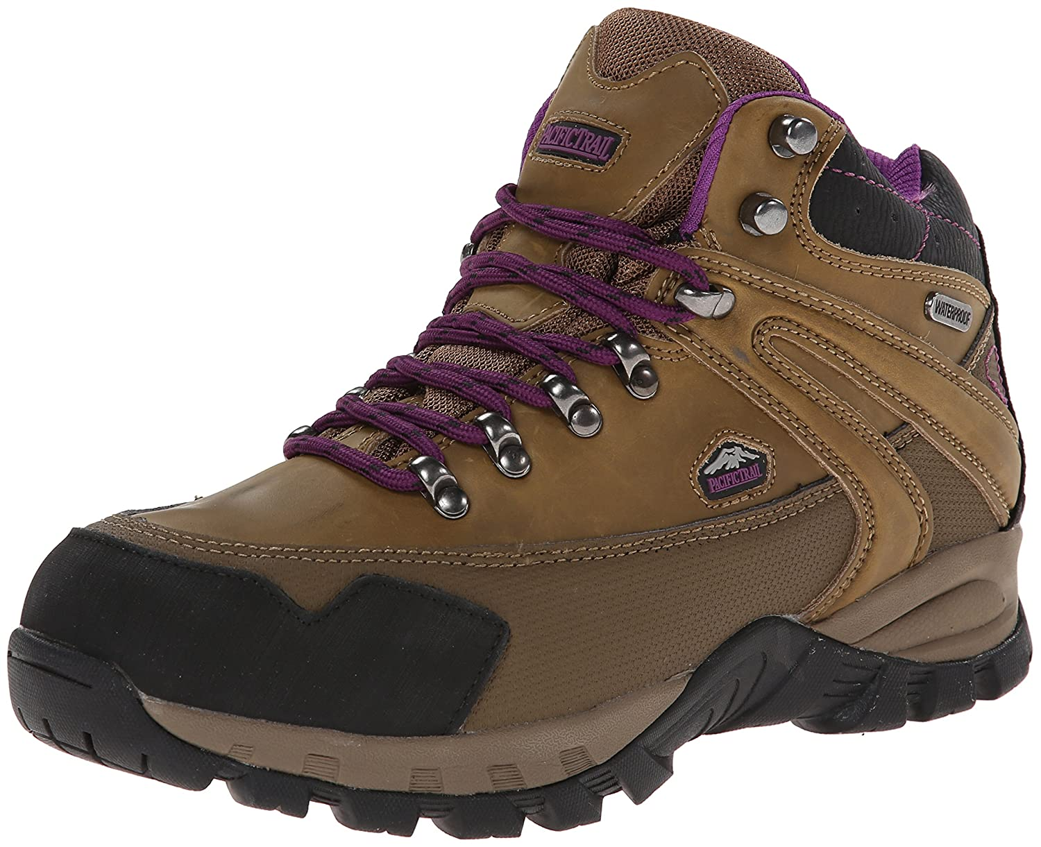 Pacific Trail Women's Rainier Waterproof Hiking Boot B00LCUOTS6 6.5 B(M) US|Smokey Brown/Black/Purple