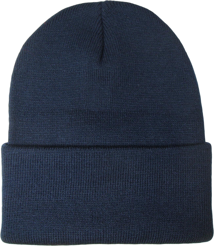 THS 12 Inch Long Cuffed Knit Beanie Ski Cap One Size, Navy Blue