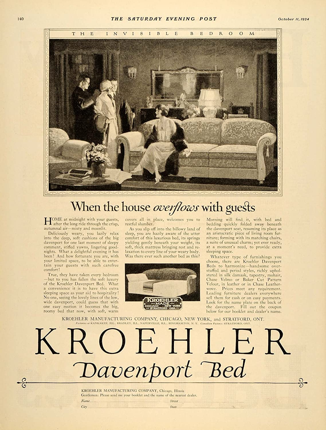 Amazon.com: 1924 Ad Kroehler Davenport Bed Furniture Couch Sofa   Original  Print Ad: Entertainment Collectibles