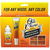Olde Chicago Wood Filler and Scratch Repair kit for wood furniture and floor. Fills and conceals minor scratches for any wood color. Comes with 1oz Scratch Repair, .65oz Wood Filler, and Applicator.