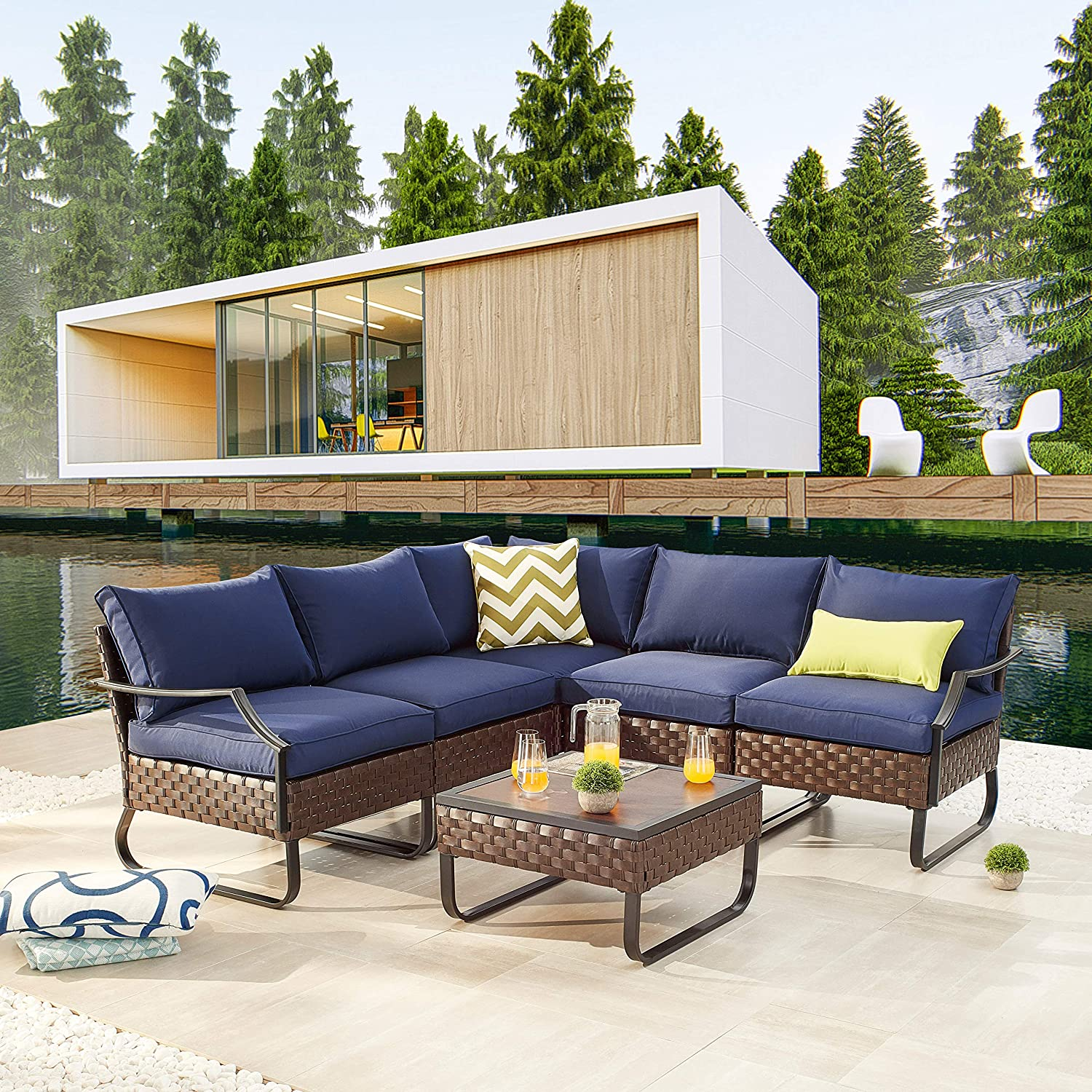 LOKATSE HOME Sectional Conversation Sofa 6 Pcs Outdoor Patio Rattan Furniture Set All-Weather Wicker Metal Frame Chairs with Cushion & Coffee Table, Blue