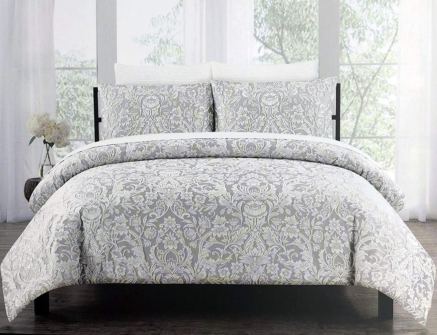 Tahari Home Maison Bedding 3 Piece Full/Queen Luxury Duvet Cover Shams Set Raised Embroidered Floral Damask Pattern Birds in Cream/Off-White Thread on Light Gray- Charleston