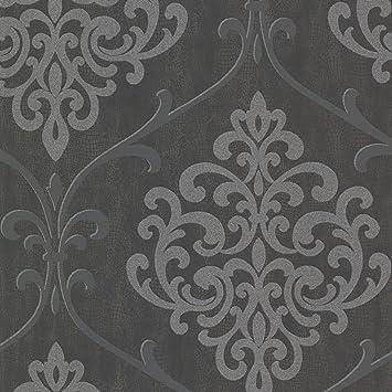 Bhf 2542 20718 Ambrosia Paillettes Papier Peint Damasse Gris