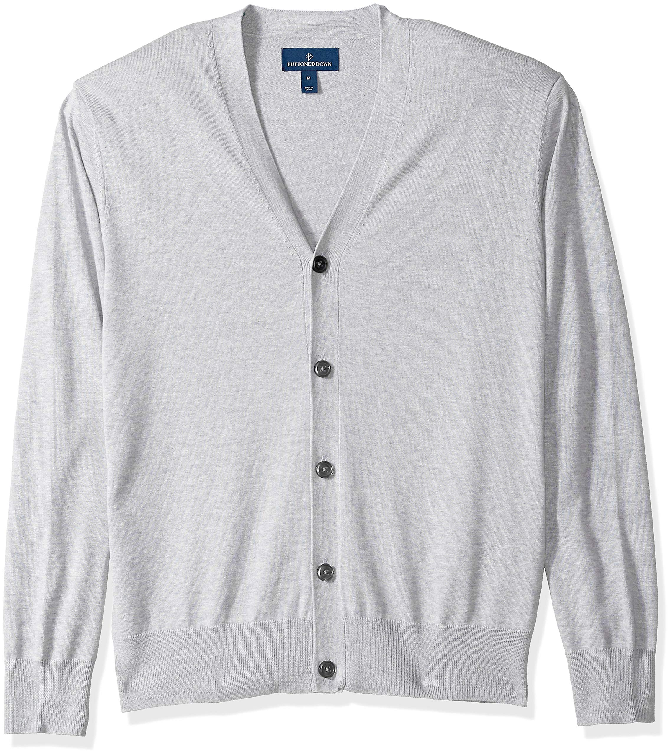 BUTTONED DOWN Men's Supima Cotton Lightweight Cardigan Sweater, grey, Large
