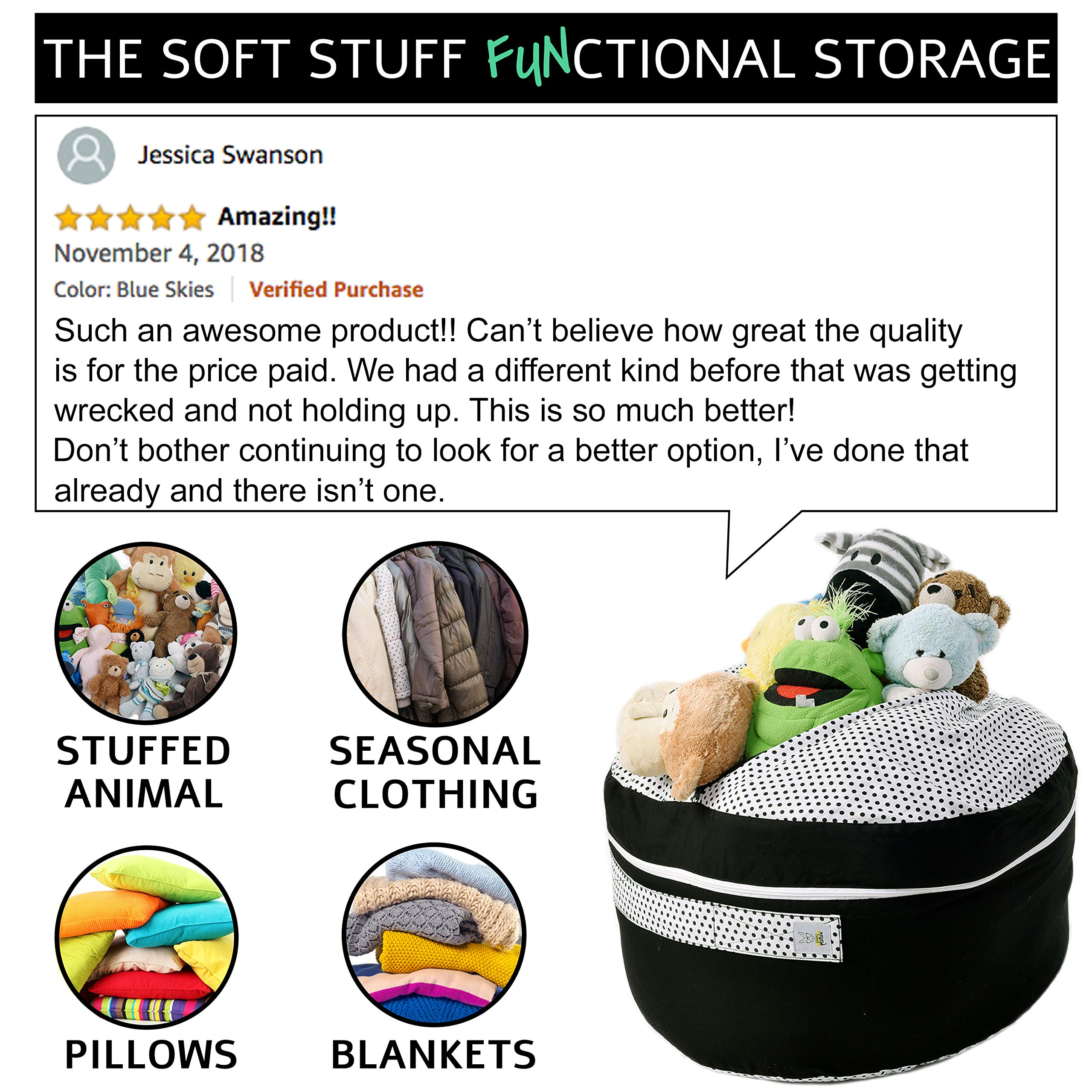 2 Sizes in 1 Large Bean bag Stuffed Animal Storage | XL Jumbo Ottoman for Soft Toys, Plush Toys | Giant Pouf Organizer for Linens, Quilts, Pillows | 300 L. / 80 Gal. | 42'' | Black & White by SMART WALLABY