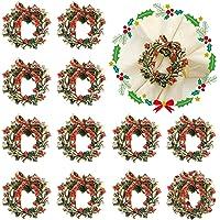 Juego de anillos de servilleta de Navidad, 12 piezas de corona de Navidad, anillos para decoración de mesa