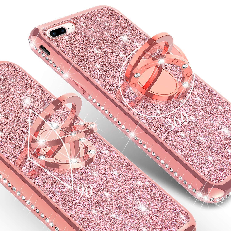 Silber Homikon Silikon H/ülle Kompatibel mit iPhone 7 Plus//8 Plus /Überzug TPU Bling Glitzer Strass Diamant Schutzh/ülle mit 360 Grad Ring St/änder Soft Flex Durchsichtig Silikon Handyh/ülle Tasche Case