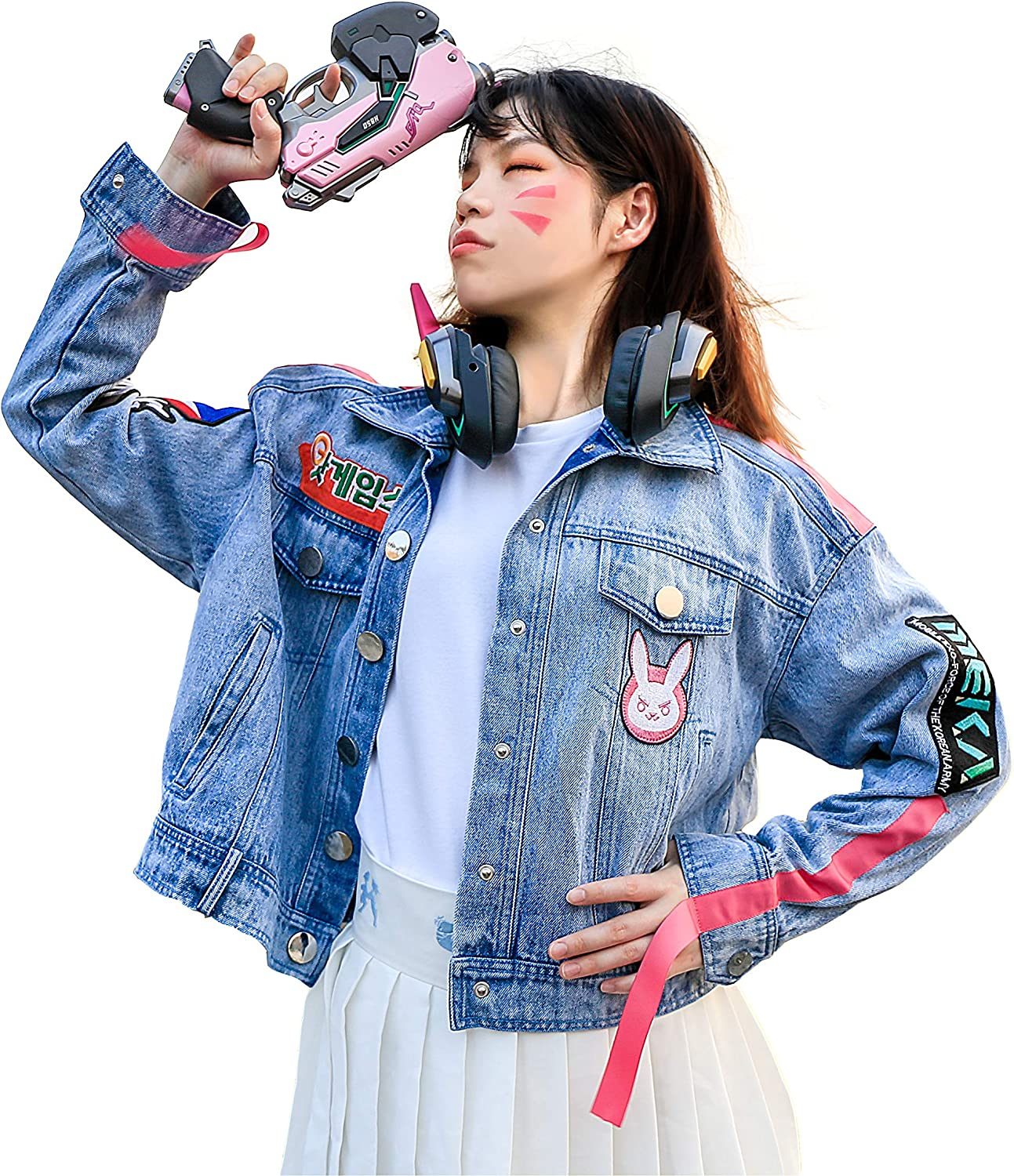 OW Hana Song Cosplay Bunny Jean Coat Girls Fashion Costume Durable Denim Sweatshirts