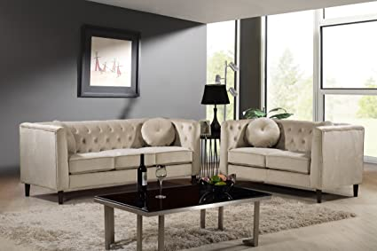Fine Container Furniture Direct S5376 2Pc Kitts Velvet Upholstered Modern Chesterfield Sofa Set 78 Sofa And Loveseat Ivory Machost Co Dining Chair Design Ideas Machostcouk