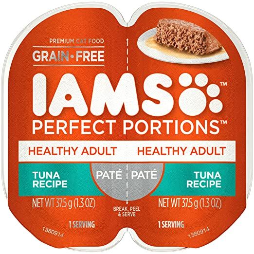 Amazon.com : Iams Perfect Portions Grain Free Adult Wet Cat Food Paté Tuna Recipe, (24) 2.6 Oz. Twin-Pack Trays : Pet Supplies
