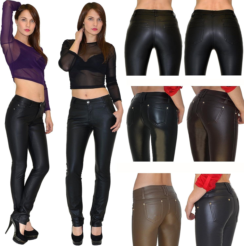 ESRA Pantalon Femme Jean Femmes Slim Pantalon en Cuir pour Femmes Cuir Simili Pantalon H12