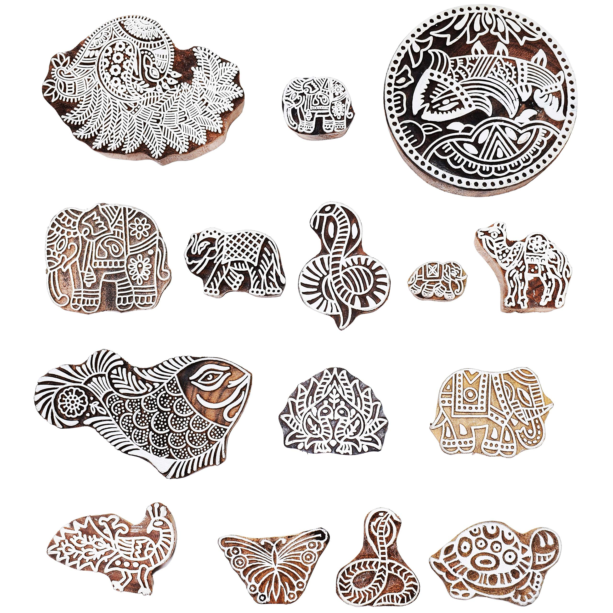 Hashcart Printing Stamps Animal Design Wooden Blocks (Set of 37) Hand-Carved for Saree Border Making Pottery Crafts Textile Printing