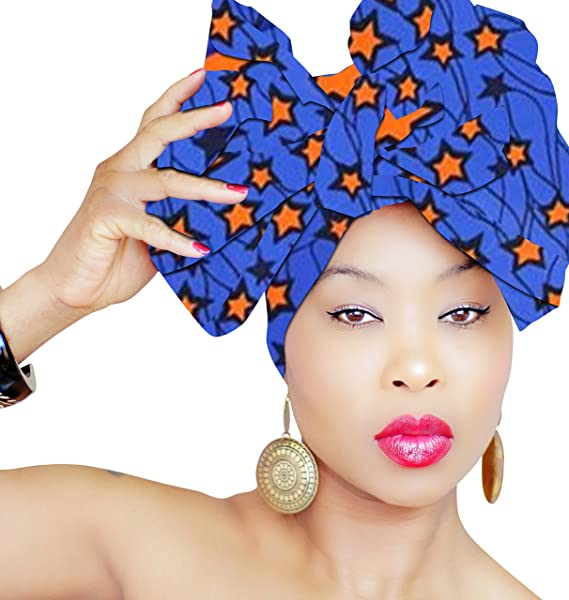 d530acfe2 DESIGN 78 Blue Star Head Wrap | 100% Cotton HEAD SCARF | Royal Head Wraps  at Amazon Women's Clothing store: