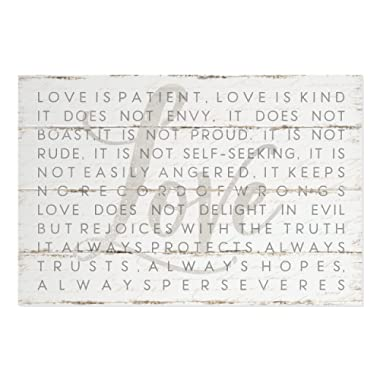 Love is Patient Love is Kind 1 Corinthians Rustic Wood Style Wall Sign 12x18