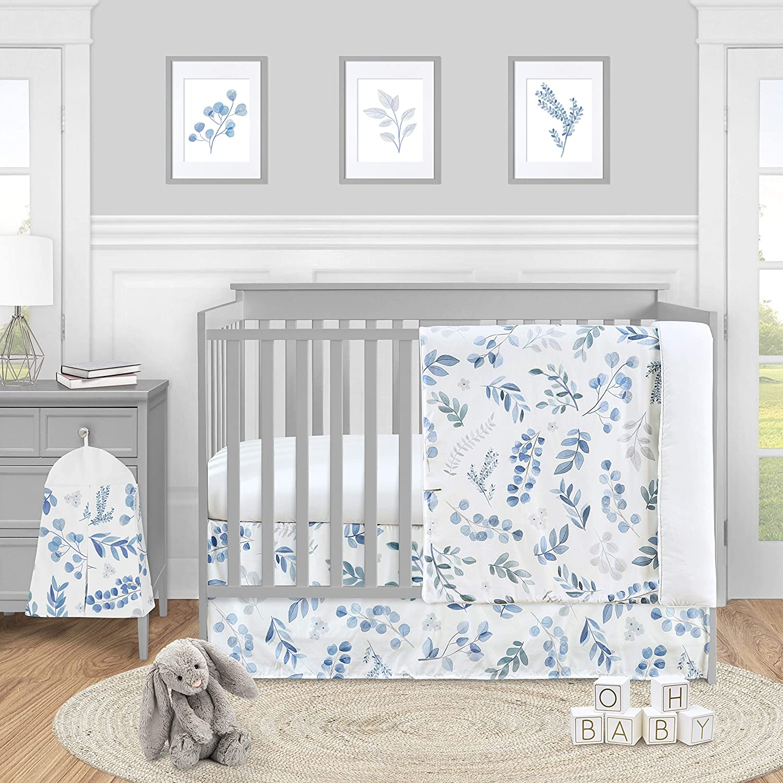 Sweet Jojo Designs Floral Leaf Baby Boy or Girl Nursery Crib Bedding Set - 4 Pieces - Blue Grey and White Boho Watercolor Botanical Flower Woodland Tropical Garden