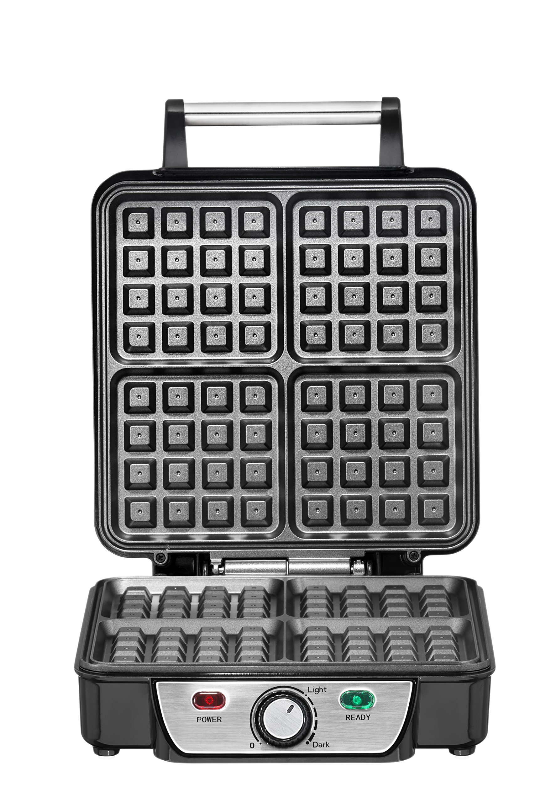 Chefman Belgian Waffle Maker, 4-Slice, Stainless Steel Non-Stick Cooking Surface, Cool Touch Handle, Adjustable Browning Control, Power/Ready Lights, Waffle Cookbook Included - RJ04-4P by Chefman (Image #5)