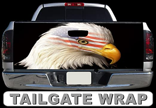 Pick-Up Truck Tailgate Wraps Eagle Silhouette On a Color Splash Freedom