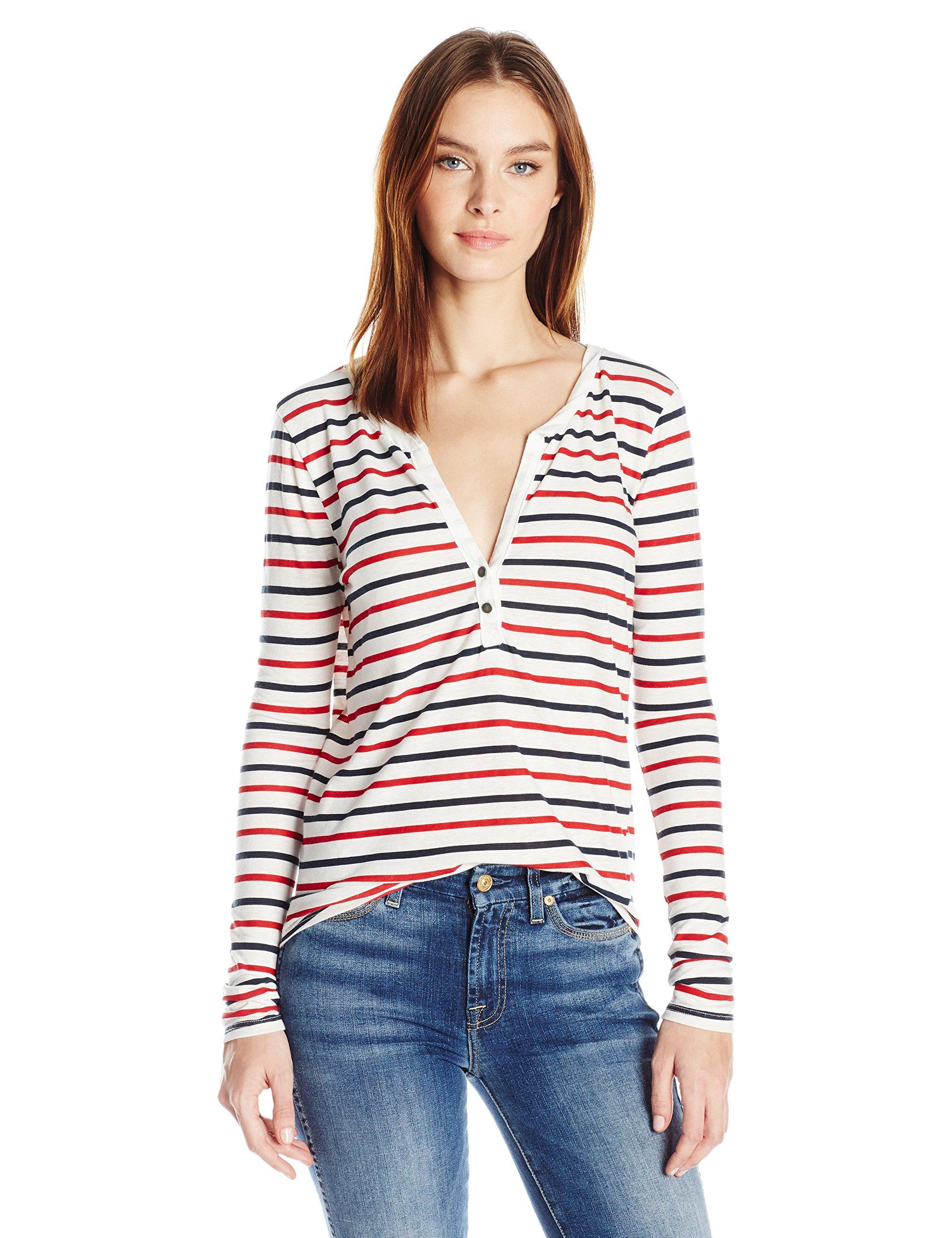 Pam & Gela Women's L/s Henley Tee, White/Red/Blue Stripe, L