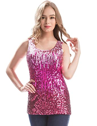77d1e188cb47a2 MANER Womens Sparkle Gradient Sequin Embellished Tank Top Sleeveless Round  Neck (Bright Pink/Rose