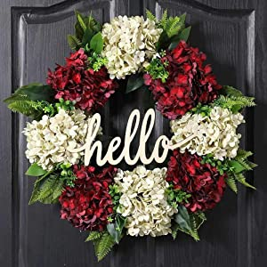 QUNWREATH Winter Wreath for Front Door Christmas Wreath Red Milk White Hydrangea Wreath 19 Inch Handmade Wreath Hello Wreath Farmhouse Wreath