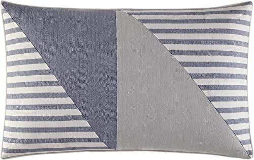 Nautica Fairwater Collection 100 Cotton Mediterranean Inspired Design Decorative Throw Pillow, Hidden Zipper Closure, Easy Care Machine Washable, 14 x 20 , Blue