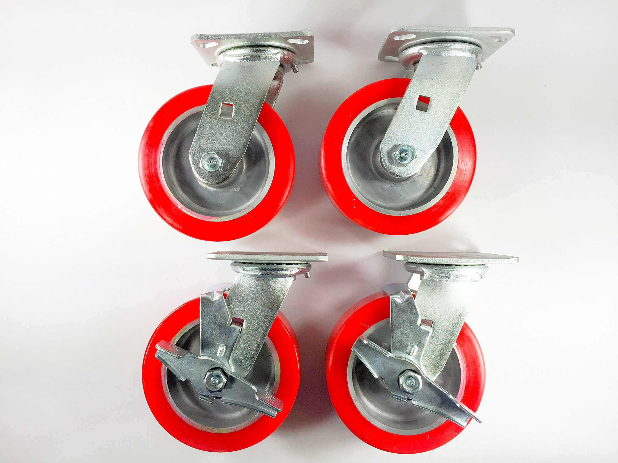 6'' X 2'' Polyurethane on Aluminum Caster - Swivel (2ea) & Swivel with Brake (2ea)