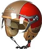 SOXON SP-325-URBAN Green · Casque Jet Pilot Chopper Bobber Mofa Scooter Moto Demi-Jet Biker Helmet Retro Cruiser Vintage Vespa · ECE certifiés · conception en cuir · visière inclus · y compris le sac de casque · Vert · XS (53-54cm)