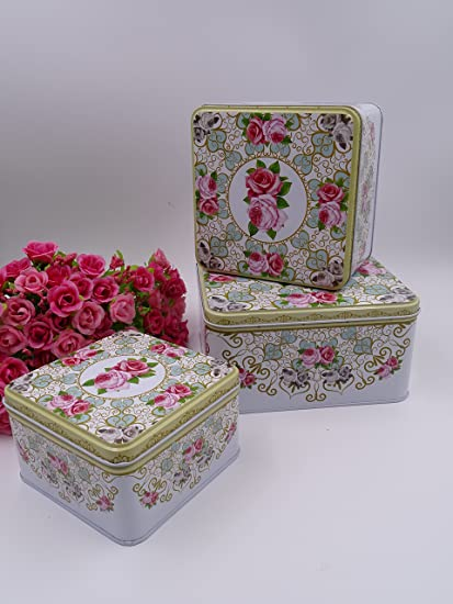 Beau Very Beautiful French Cottage Themed Square Storage Tin, Shabby Chic,set Of  3 With