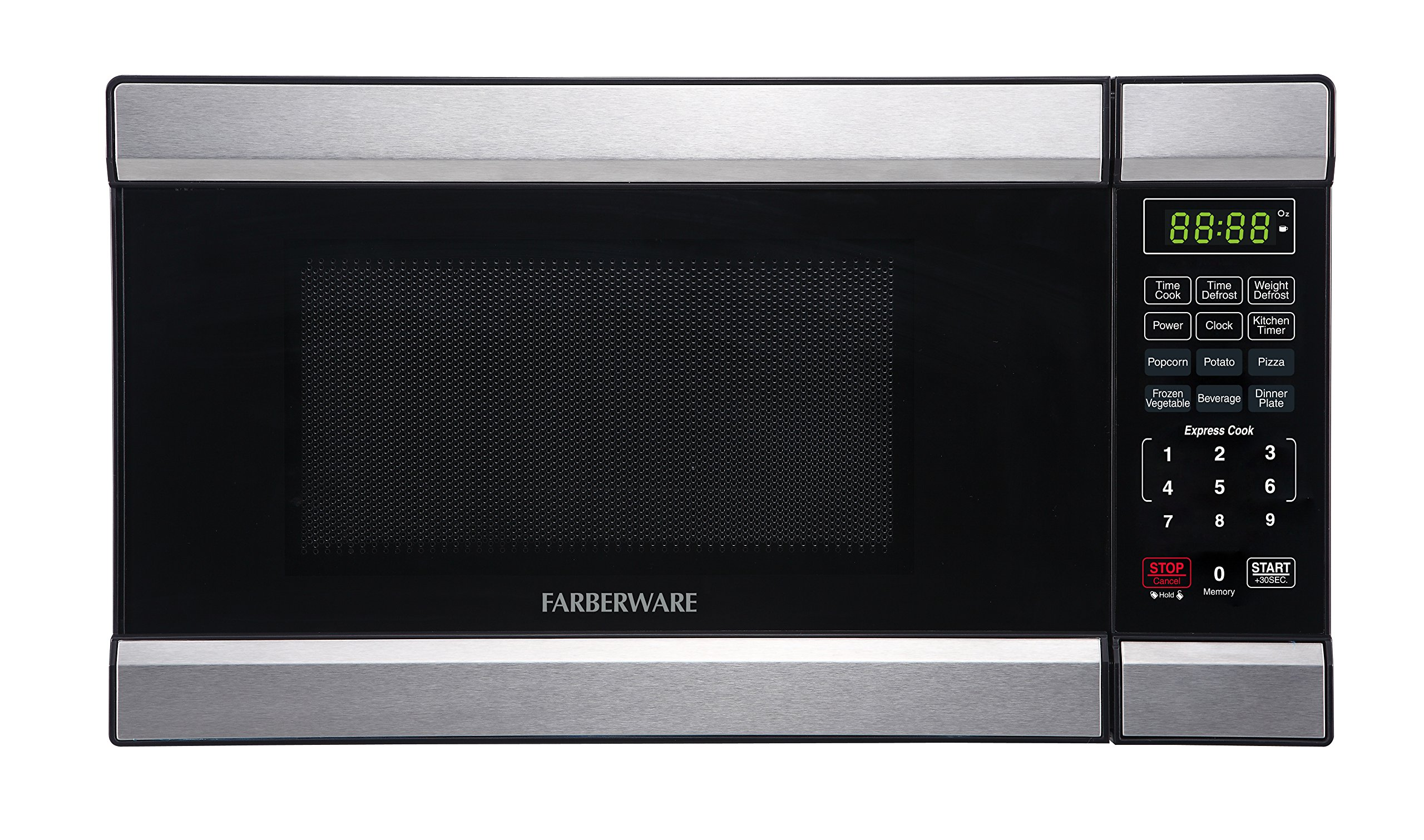 Farberware FMO07ABTBKQ 0.7 Cubic Foot 700 Watt Microwave Oven, Stainless Steel/Black