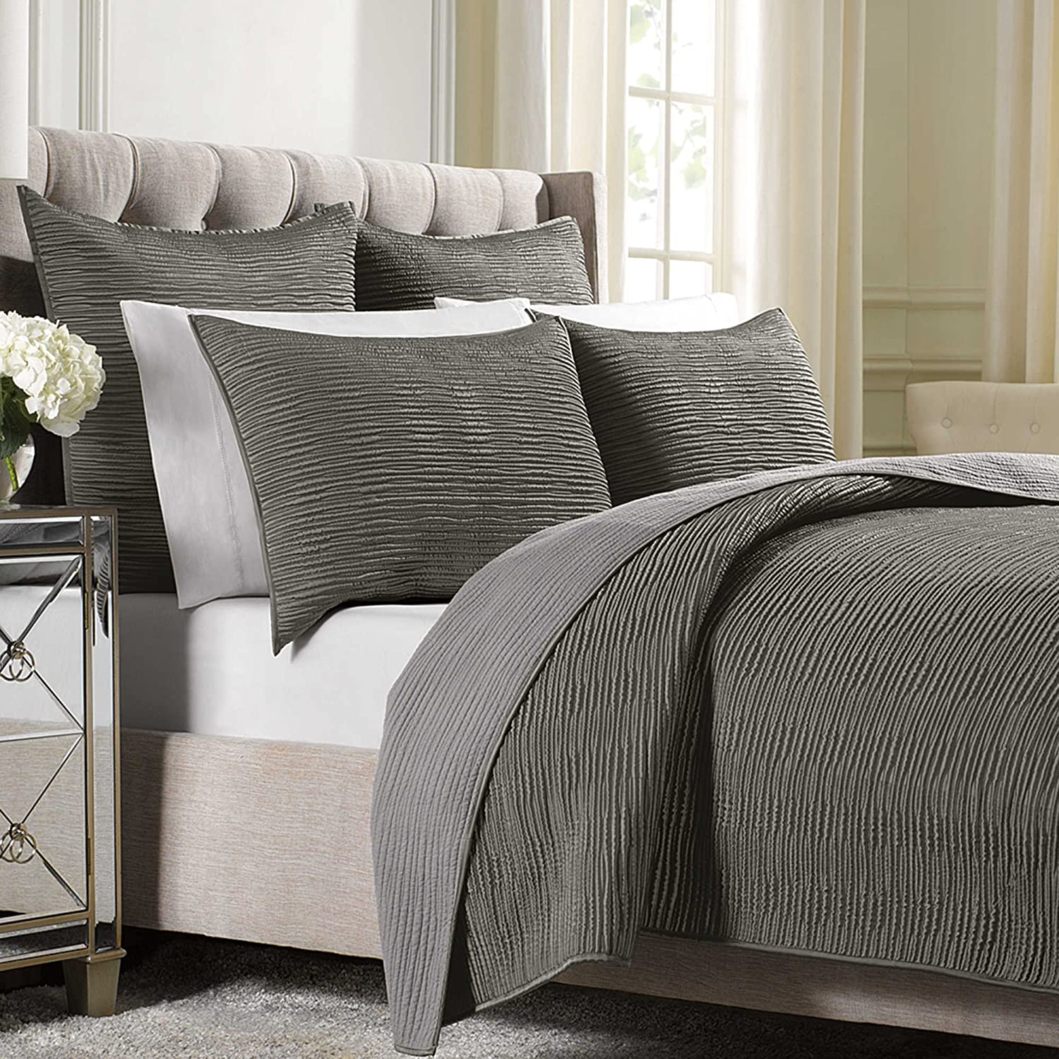 Wamsutta Serenity Full Queen Coverlet (Mink)