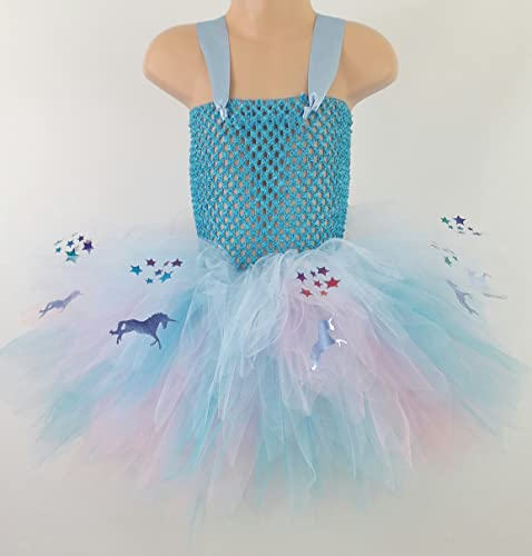 2c17c9ca36 Image Unavailable. Image not available for. Colour: Blue Unicorns & Rainbow  Stars,Multi Layered Childrens Tutu Dress Perfect for Birthdays ...