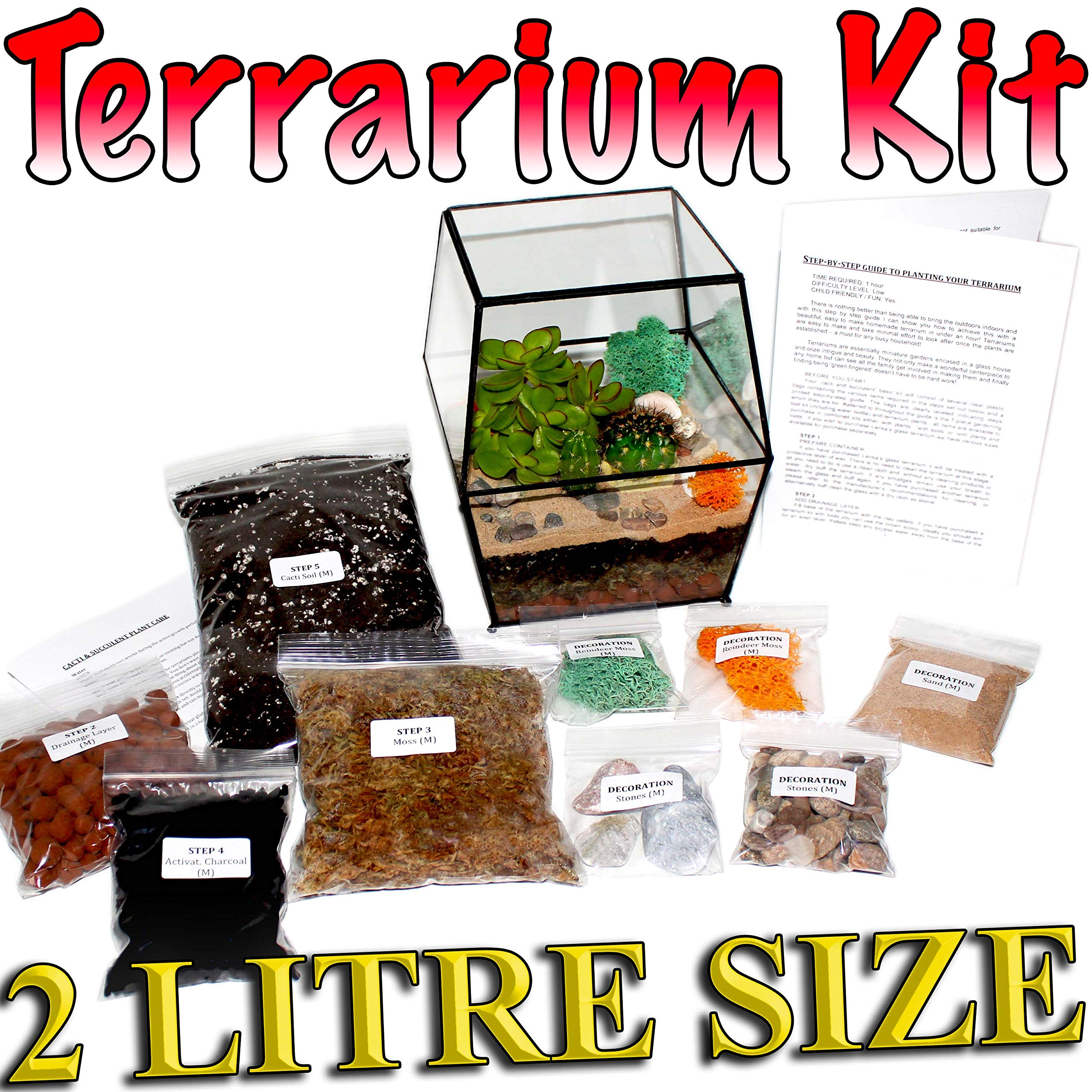 TERRARIUM FILLING KIT CHARCOAL AND ORGANIC SOIL FOR TERRARIUMS GRIT