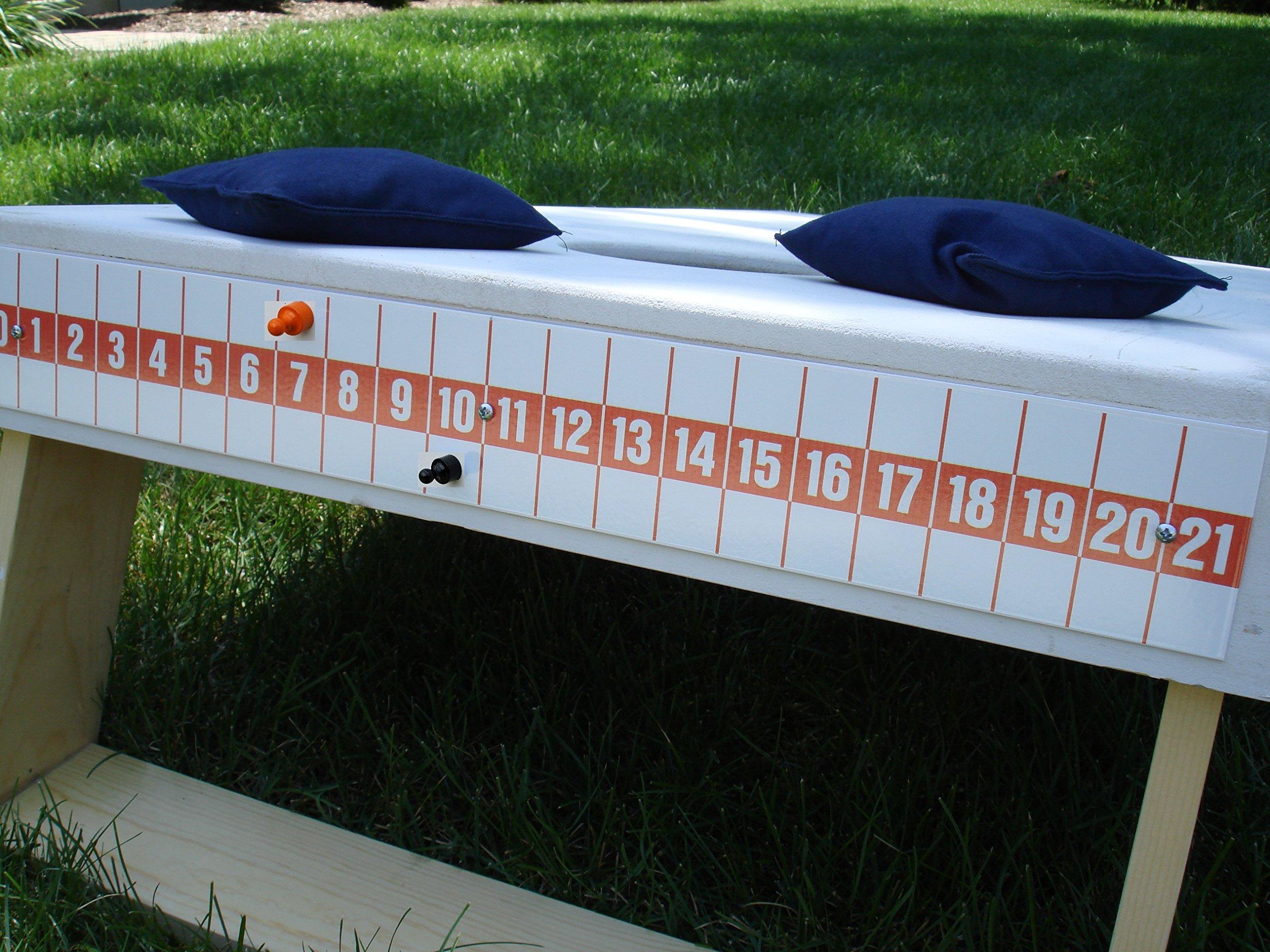 Cornhole Bag Toss Game Magnetic Scoreboard Orange on White