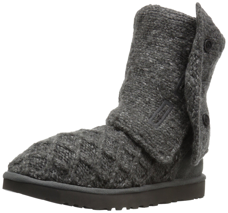 UGG Women's Lattice Cardy Winter Boot, Charcoal, 9 B US