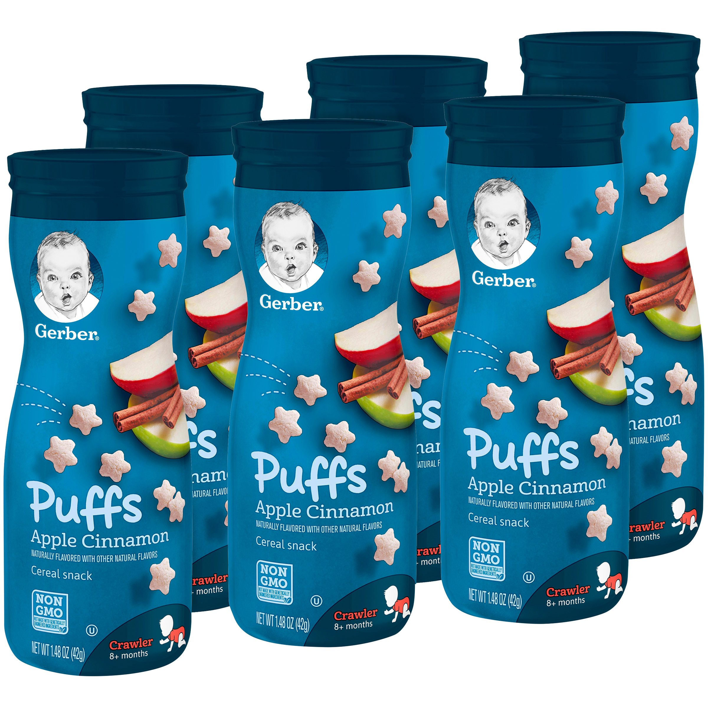 Gerber Puffs Cereal Snack, Apple Cinnamon, 1.48 Ounce, 6 Count by GERBER