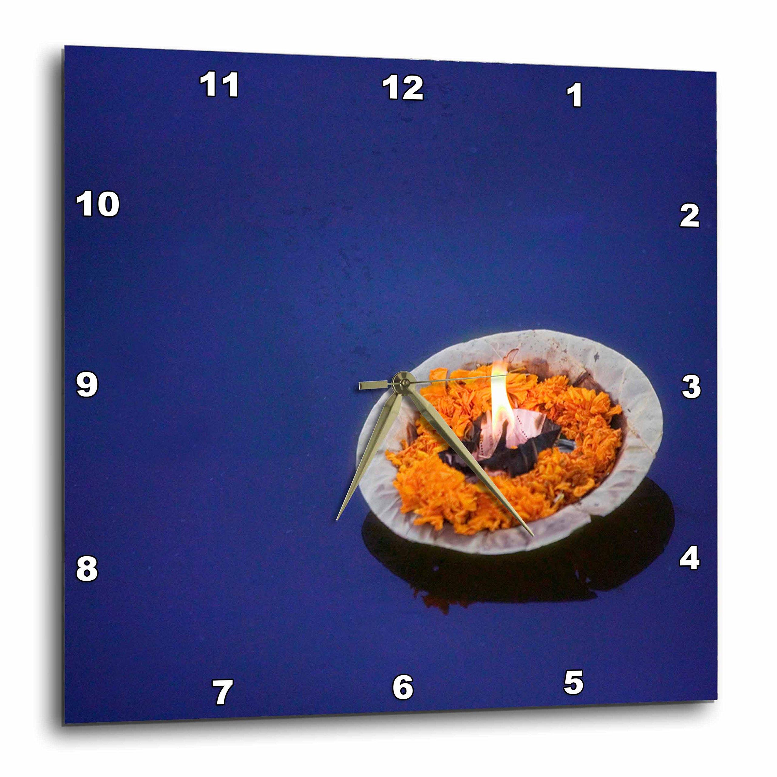 3dRose dpp_72670_2 Flower Candle in The Ganges River, Varanasi, India-AS10 KSU0128-Keren Su-Wall Clock, 13 by 13-Inch
