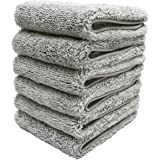 Polyte Premium Lint Free Microfiber Washcloth Face Towel, 13 x 13 in, Set of 6 (Gray)
