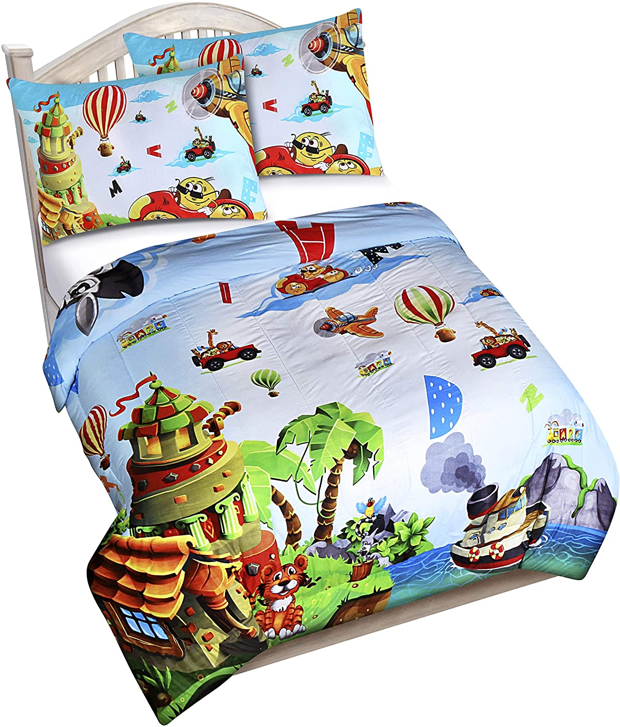 Utopia Bedding All Season Super Soft Jungle Theme Animals Kids Comforter Set - 3 Piece Toddler Bedding Sets for Boys - Twin/Twin XL