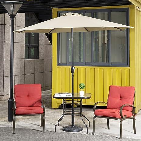 Cloud Mountain 9Ft Tilt Patio Umbrella Canopy Beach Umbrella Outdoor Garden  Umbrella With Push Button Beach