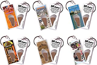 product image for Branson FootWhere Keychains. 6 Piece Set. Authentic Destination Souvenir acknowledging Where You've Set Foot. Genuine Soil of Featured Location encased Inside Foot Cavity. Made in USA